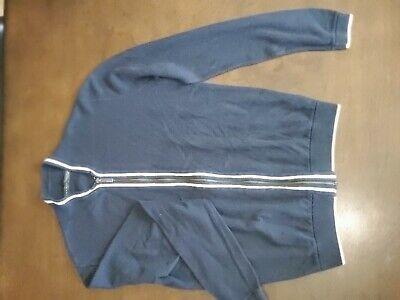 Medium Zara Blue Zip Up Jacket With White Trim51%Cotton 49%Acrylic