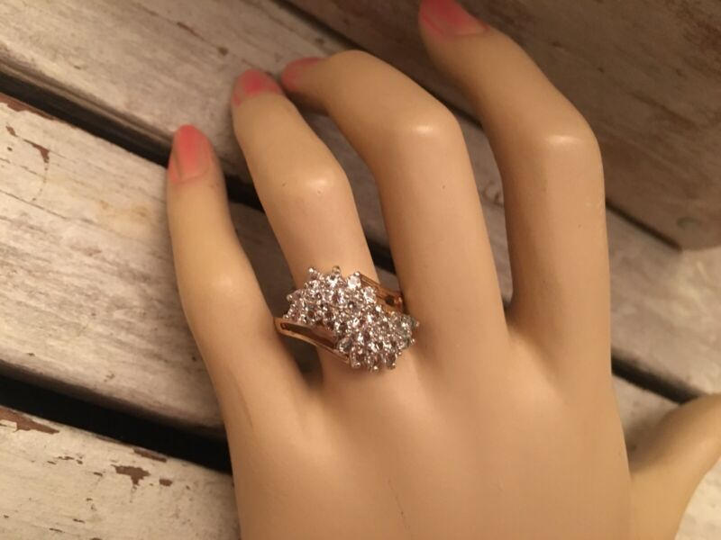 18k GE Sparkling CZ Waterfall Ring Cocktail Holidays Glamour Girl