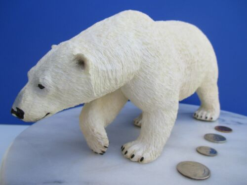 Realistic Look Hard Rubberized Plastic Prowling Polar Bear Action Figure Model