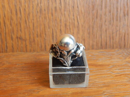 Vintage Art Nouveau 925 Sterling Silver Orb Ball Pearl Flower Ring Small Size 4