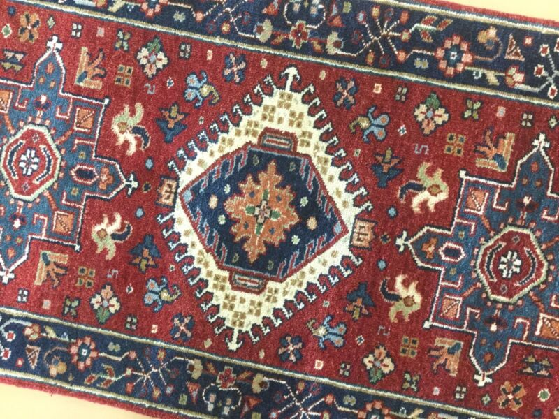 2 X 4 Red Navy Blue Karajeh Persian Oriental Area Rug Geometric Hand Knotted