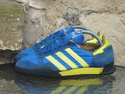 Vintage Adidas Marathon 80 UK 6.5 Made In West Germany OG Blue / Yellow 1980s 84