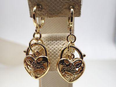 Ladies 14K 14ct  Yellow Gold Solid Rococo Heart Padlock Drop Dangle Earrings New