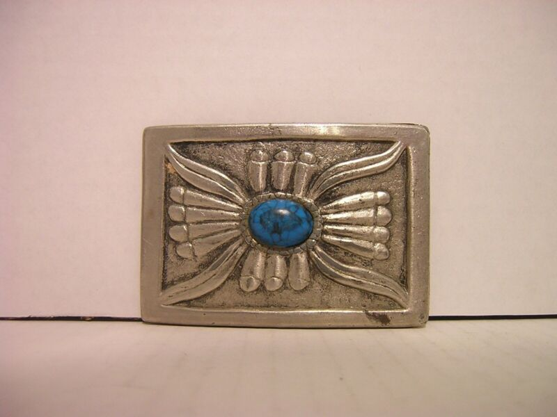 Silver with Turquoise Stone Square with Indian Symbol Belt Buckle