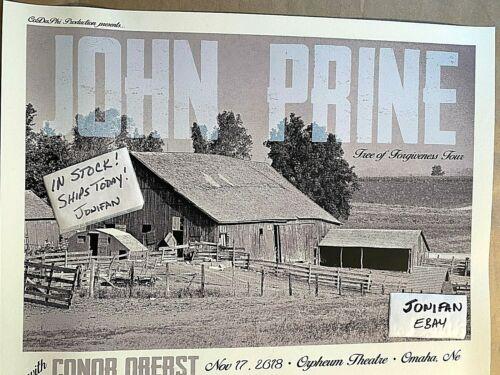 ORIGINAL JOHN PRINE CONOR OBERST Omaha NE 2018 SCREEN PRINT POSTER SHIPS TODAY!