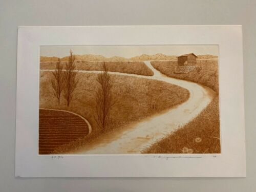 RARE! Tanaka Ryohei Etching and Aquatint Print   1974