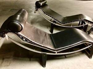 Corbusier Stoel Replica : Modernist leather chaise lounge chair replica black corbusier