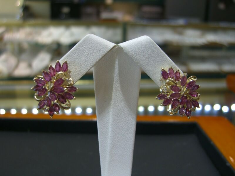 Fine Ruby & Diamond Womens Floral Earrings 14 Karat Yellow Gold New