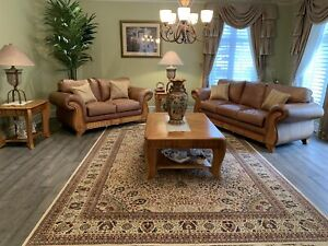 7-piece complete leather living room (w/ XL silk rug)- like new