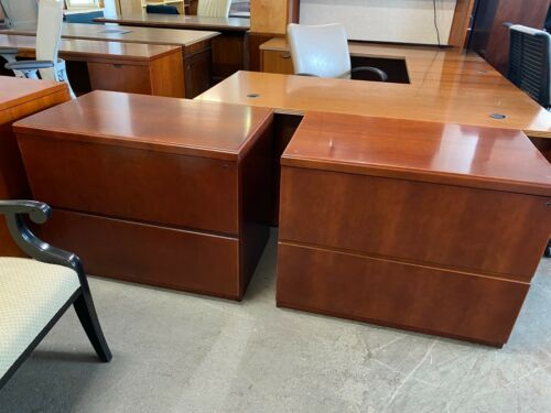"""2Dr 36""""W Lateral File Cabinet by Kimball Office Furniture in Cherry finish wood"""