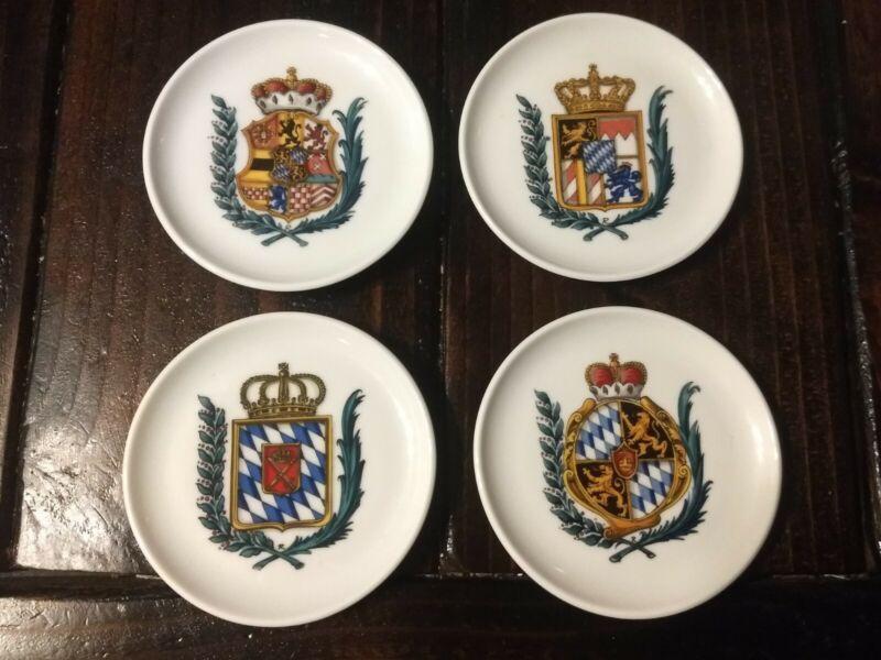 Kurt Hammer Mini Collector Plates~Coasters~Set Of 4~Coat of Arms~Crest