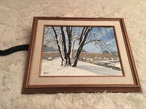 Original Oil Painting Winter Scene