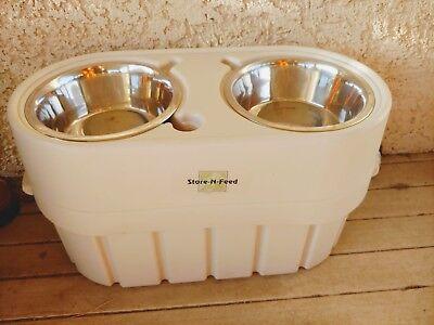 Store and Feed Dog bowl Dish Feeder dog food storage