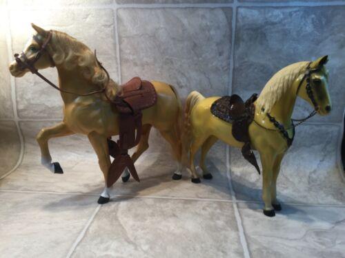 """Vtg plastic Toy Horse 11 1/4 & 10"""" PALAMINO  w Saddle & Bridle lot of 2"""