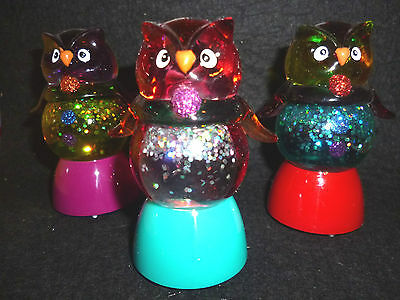 Hallmark Bags 3 Halloween Owls Snow Globes Changes Color Swirling Glitter NEW