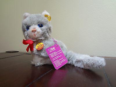 NWT 70s Steiff 3521 Snuffy Blue Eyed Grey White Cat Kitten Kitty Stuffed Animal