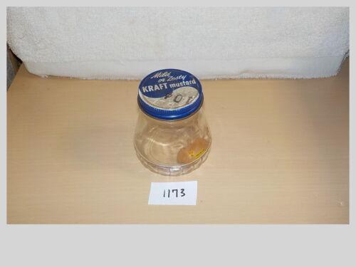 Vtg 1953 Mild or Zesty KRAFT MUSTARD Tin Screw On Jar 10 Cents B1173