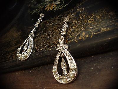 Vintage Style Crystal & Seed Pearl Drop Pierced Earrings