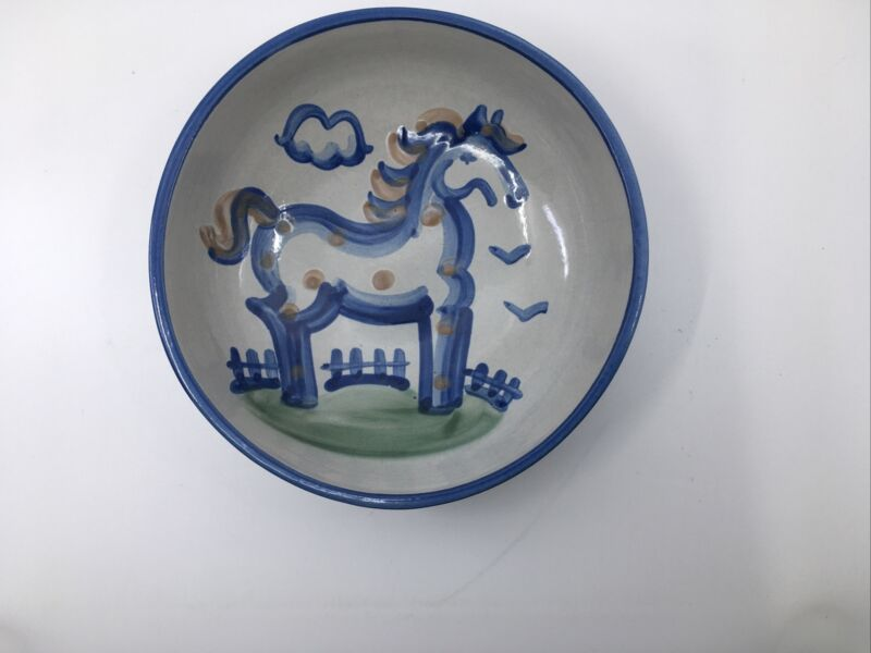 """M.A. Hadley Pottery 8"""" Serving Bowl With Blue Horse"""