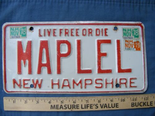 NEW HAMPSHIRE 1978 Vanity License Plate ,MAPLEL