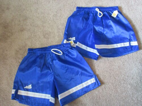 Lot (2) VINTAGE New 80s LIGA SOCCER Youth Large YL Royal Blue Shorts 100% Nylon