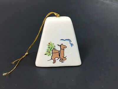 """Vintage Christmas Tree Ceramic Bell Ornament w/ Faux Pearl Nativity CAMEL 2"""""""