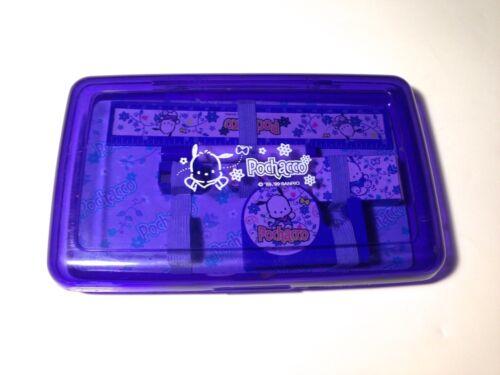 Vintage Sanrio Pochacco Plastic Pencil Case School Box & Accessories RARE