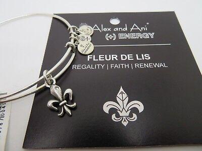 Alex and Ani Silver Fleur De Lis w/ crystal Charm Bracelet New W/Tag Card Crystal Fleur De Lis Charm