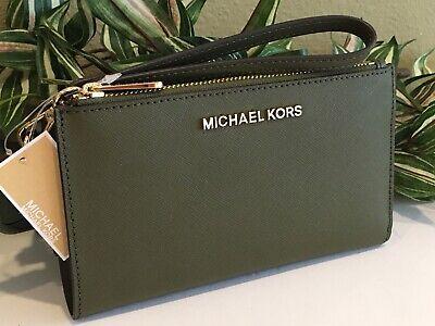 MICHAEL KORS JET SET TRAVEL DOUBLE ZIP WALLET PHONE CASE WRISTLET DUFFLE OLIVE