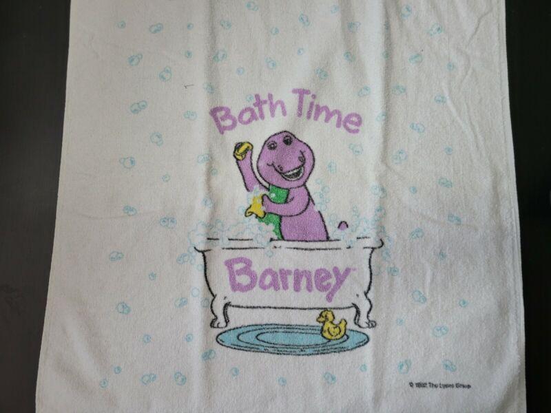 KIDS VINTAGE BARNEY BATH TOWEL - BATH TIME - BARNEY IN THE TUB ON BOTH ENDS