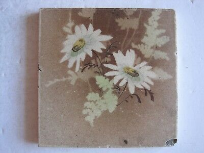 ANTIQUE VICTORIAN TRANSFER PRINT & TINT FLORAL TILE - J H BARRATT C1900-25