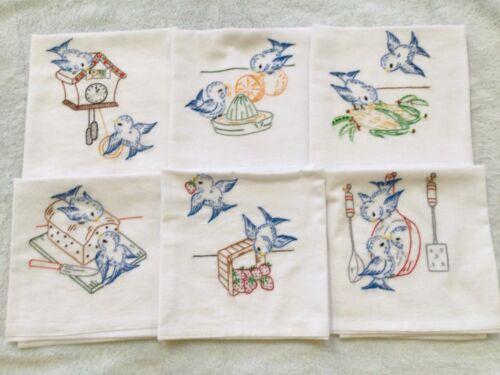 Hand Embroidered Flour Sack Dish Towels, Bluebirds, Vintage Design, New