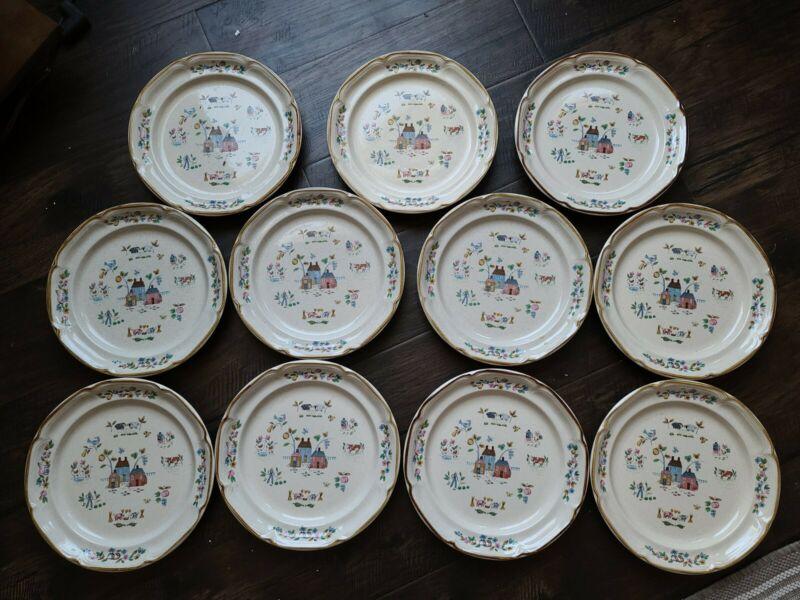 "11 Vtg International Stoneware Japan Heartland 10.75"" Dinner Plates SY-7774 Farm"