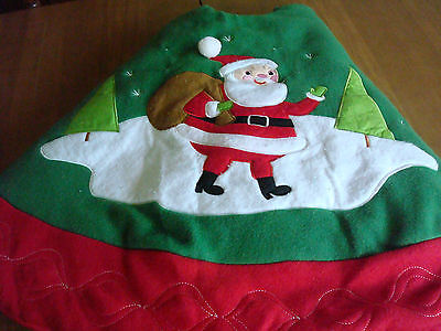 SANTA~Red~Green~White~Flannel~Padded~CHRISTMAS TREE SKIRT~46""