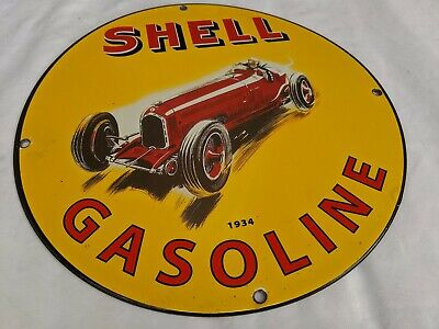 OLD VINTAGE 1934 SHELL GASOLINE PORCELAIN ENAMEL GAS STATION FUEL OIL PUMP SIGN