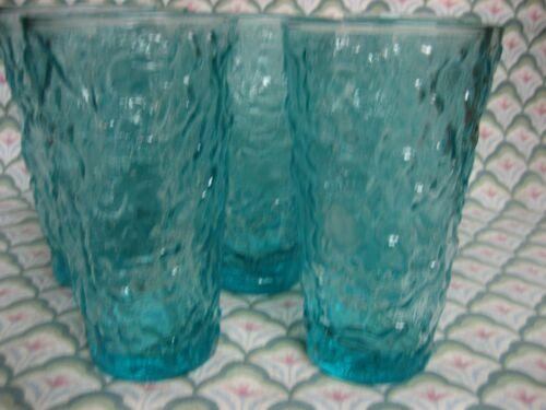 "8 Anchor Hocking LIDO MILANO Aqua Blue Turquoise Tumbler 5 1/2"" Glass EUC MINTY!"