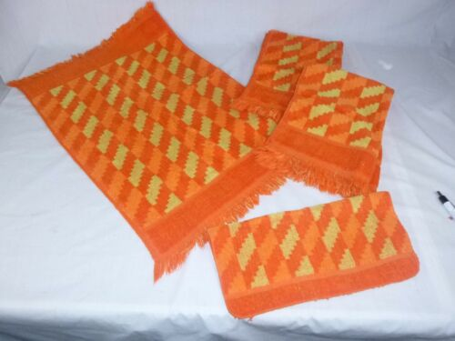 4 Pcs Vtg Cannon 3 Hand Towels 1 Wash Orange Yellow Houndstooth Check