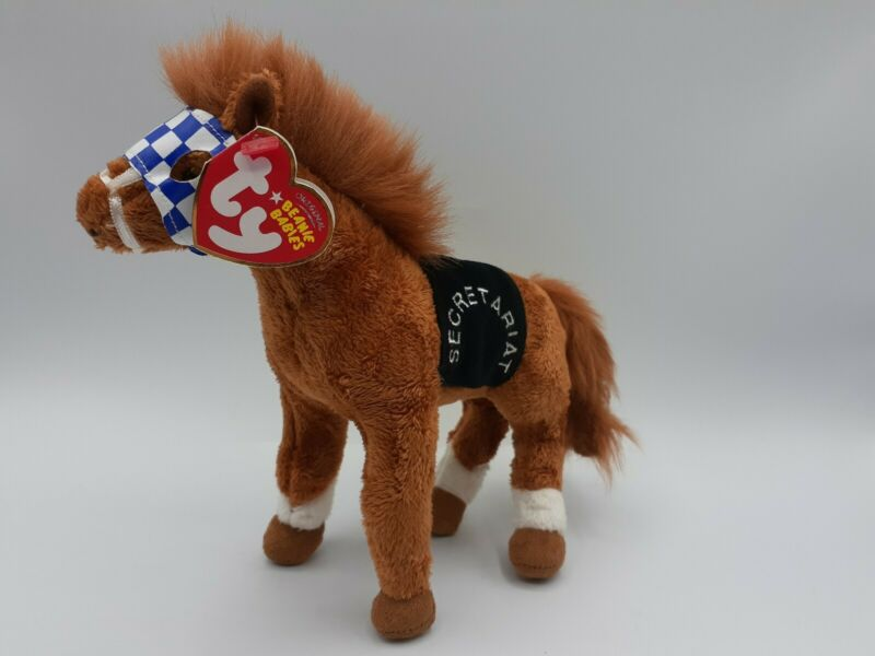"TY Beanie Baby SECRETARIAT the Horse Plush w Tag 2006, Triple Crown Winner, 7"""