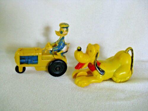 2 Vintage Disney Plastic Friction Toys, Pluto Dog, Donald Duck Tractor, Antique