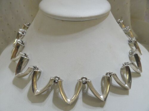VINTAGE TAXCO MEXICO STERLING SILVER 925 ZIG ZAG WAVE DESIGN CHOKER NECKLACE