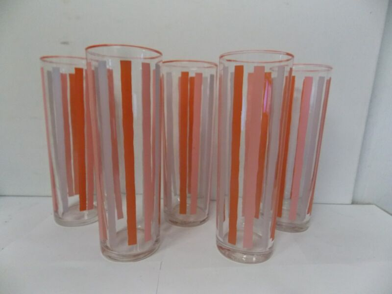 Libbey Shades of Pink Striped Tall Coolers , Set of 5