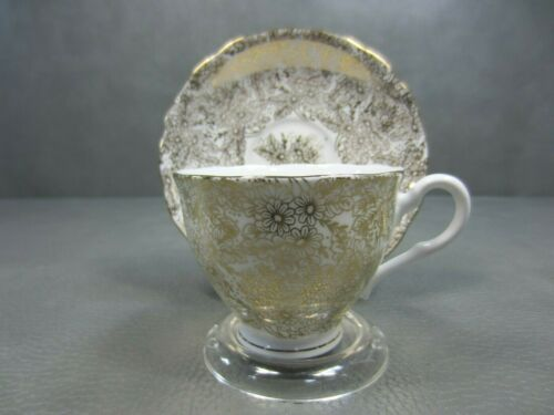 Colclough Gold Floral Genuine Bone China Cup and Saucer England