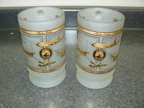 Pair of Vintage Alaska Airlines Heavy Frosted Mugs