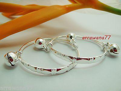 Set White Anklet - White Gold 22K 23K Thai Baht Gold GP Jewelry Baby Set Anklet Bell