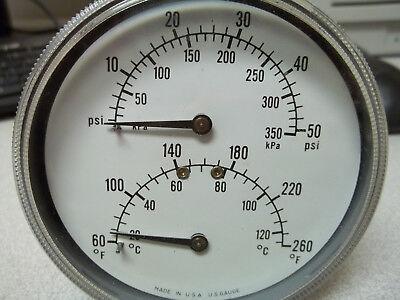 Boiler Gauge Tridicator 60-260 F 0-50 Psi 12 Lm Mnt. 3 Shank 3-12 Dial