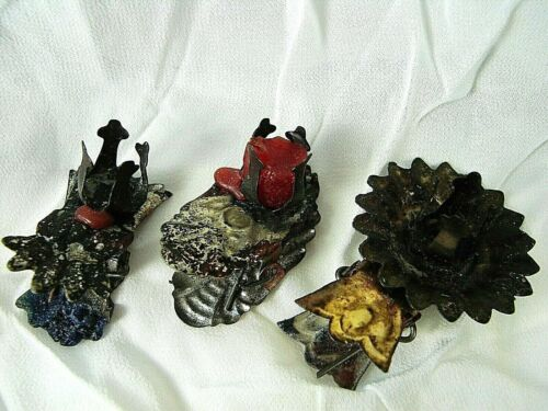 Antique Trio of German Candle Clips w Special Designs - Tin - late 1800s