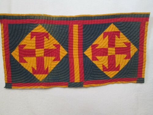 Antique Double Quilt Block Square HAND Quilted Cutter Red Navy Cheddar 15 X 30""