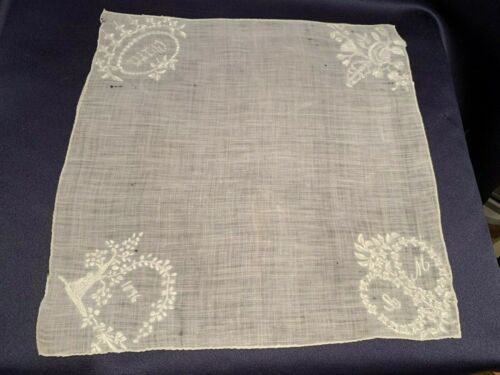 "Early Signed + Dated 1876 Hand White Worked Handkerchief ""Clara"""