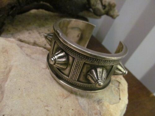 Vintage Rare 925 Sterling Silver Antique Bedouin Spike Cuff Bracelet 77.0g
