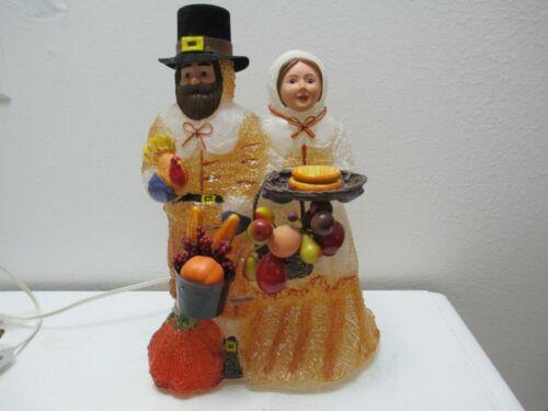 "Thanksgiving Decor - Light Up Ice Blow Mold Pilgrim Couple Lamp 13"" Tall"